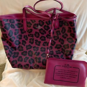 Coach Ocelot Reversible City Tote with pouch